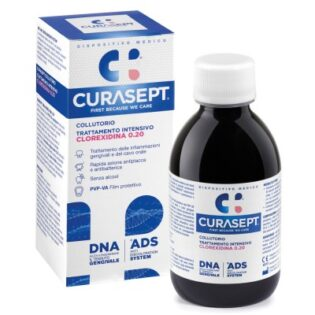 Curasept Collutorio Clorexidina 0,20% Ads+Dna. Azione Rapida Antiplacca e Antibatterica