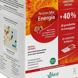 Aboca Natura Mix Advanced Bustine Orosolubili Energia. Integratore Alimentare Tonificante, Energizzante Multinaturale. +40% Omaggio
